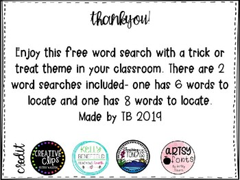 Trick or Treat Word Search