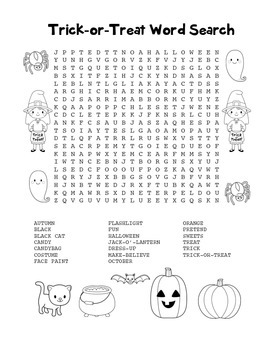 """Trick-or-Treat"" Word Search - Halloween Fun! (Black Line"