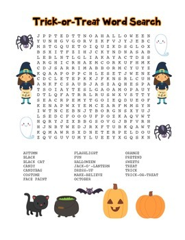 """""""Trick-or-Treat"""" Word Search - Halloween Fun! (Full Color Version)"""