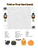 """""""Trick-or-Treat"""" Word Search - Halloween Fun! (Full Color and Black Line)"""