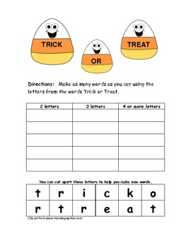 Trick or Treat (Word Work)