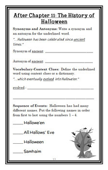 Trick or Treat from the Black Lagoon (Mike Thaler) Novel Study   (22 pages)