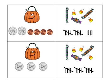 Trick or Treat!  tally marks, nickel penny sets