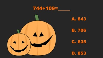 Trick or Treating With Three Digit Addition/Subtraction PowerPoint Game