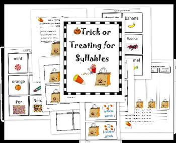 Trick or Treating for Syllables Halloween sorting activity