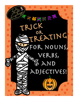 Trick or Treating for nouns, verbs, and adjectives board game!