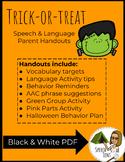 Trick-or-treat Speech & Language Parent Handouts