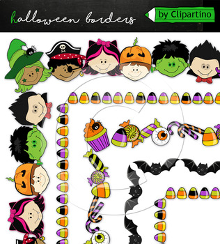 Trick or treat border clipart