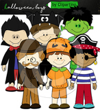 Trick or treat kid boys clipart