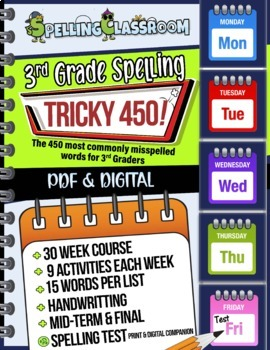 Tricky 450! 3rd Grade Spelling Workbook   30 Weeks   Daily Lessons   Tests