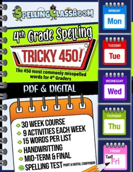 Tricky 450! 4th Grade Spelling Workbook   30 Weeks   Daily Lessons   Tests