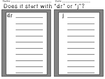 """Tricky Blends: """"dr or j?"""" Picture and Word Sort"""
