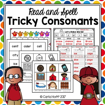 TRICKY CONSONANTS wr, kn, soft c, soft g - Read and Spell Activities