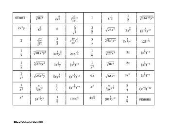 Exponents Domino Activity (Rational, Zero, Negative exponents) 32 problems!