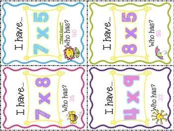 Tricky Multiplication Facts 6s-9s: I Have, Who Has (2 Sets of Games Included)