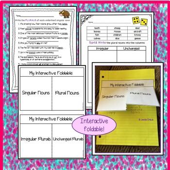 Irregular Nouns: Tricky Nouns w/10 Activities to Match,Sort,Write,& Spell
