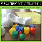 2D Shapes and 3D Shapes Activities