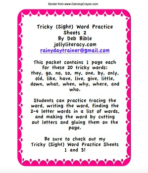 Tricky (Sight) Word Practice Sheets 2