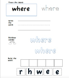 Tricky (Sight) Word Practice Sheets 2 (Supplements Jolly Phonics)