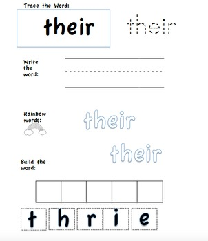 Tricky (Sight) Word Practice Sheets 3