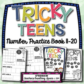 Tricky Teens Number Book --- Teen Numbers 11-20 --- Draw,