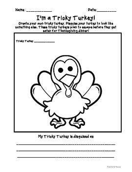 Tricky Turkey- Disguise a Turkey (Letter Writing or How To Writing)