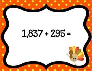 Addition, Subtraction, Multiplication Math Task Cards: Tricky Turkey
