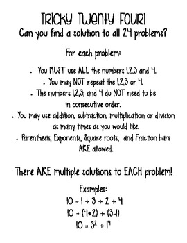 Tricky Twenty-Four:  A fun spin on Order of Operations!  FREE!