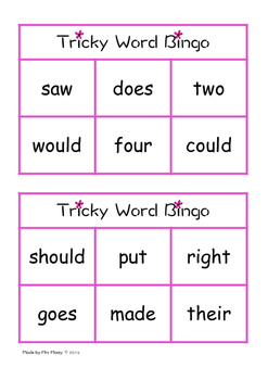Tricky Word/Sight Word Bingo - Set 5 - Jolly Phonics