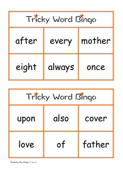 Tricky Word/Sight Word Bingo - Set 6 - Jolly Phonics