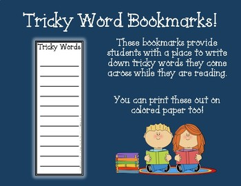 Tricky Word Bookmarks