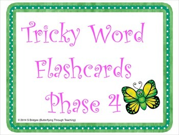 Tricky Word Flashcards Phase 4