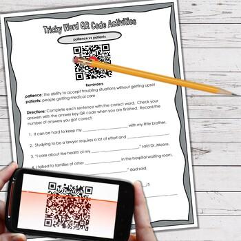 L.4.1.G Tricky Word QR Code Activities Homophones Task Cards