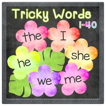 Tricky Words 1-40 Word Wall - Jolly Phonics - Tropical Blossoms