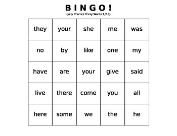 Tricky Words BINGO sets 1, 2, and 3