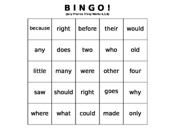 Tricky Words BINGO sets 4, 5, and 6