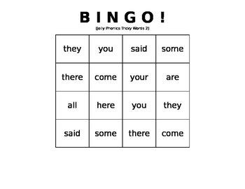 Tricky Words BINGO set #2