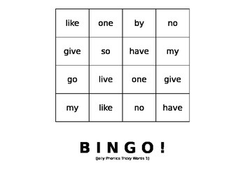 Tricky Words BINGO set #3