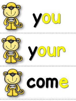 Tricky Words - Color Coded Monkey Word Wall Cards