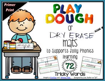 Phonics - Tricky Words Playdough-Dry Erase Mats