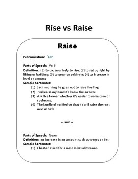 tricky word groups 2 rise vs raise by exploring expression tpt teachers pay teachers