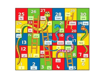 Tricky Words Snakes and Ladders Board Game