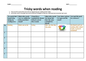 Tricky Words When Reading