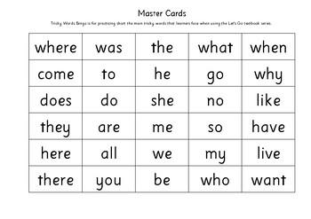 Tricky Words Bingo