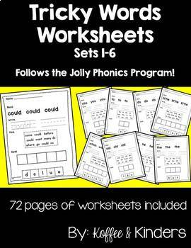 Tricky Words Worksheet Bundle [72 Pages!!] - Jolly Phonics