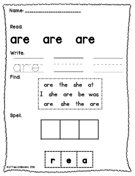 Jolly Phonics Tricky Words Worksheets Set 1