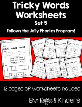 Jolly Phonics Tricky Words Worksheets Set 5
