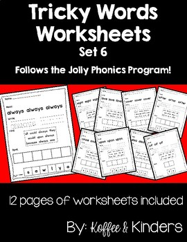 Jolly Phonics Tricky Words Worksheets Set 6