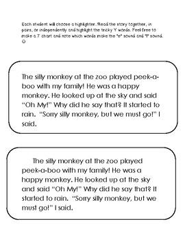 Tricky Y short story & BINGO cards