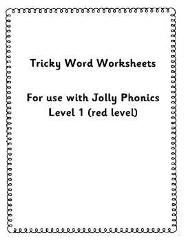 Tricky word level 1 worksheets